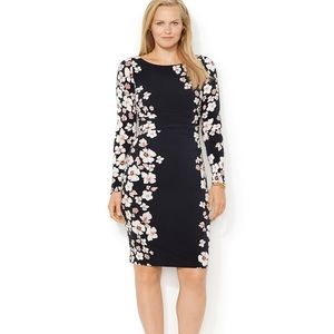 Lauren Ralph Lauren black blossoms dress SZ:8p